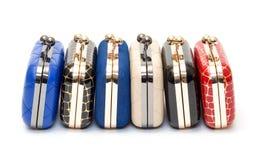 Set of fashionable female handbags Stock Photos