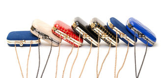 Set of fashionable female handbags Stock Images