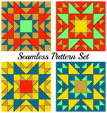 Set of 4 fashionable geometric patterns with triangles and squares of red, blue, green, golden and yellow shades. Set of 4 abstract fashionable geometric Royalty Free Stock Photo