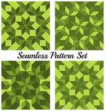 Set of 4 fashionable geometric seamless patterns with rhombus and squares of green shades Stock Images
