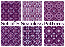 Set of 6 fashionable geometric seamless patterns with triangles and squares of violet shades Royalty Free Stock Image