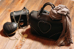 Set of  fashionable leather woman's bags Stock Photography