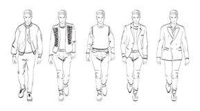 Set of fashionable men`s. Fashion man. Set of fashionable men`s sketches on a white background. Autumn men Stock Photos
