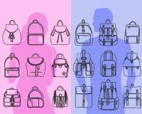 Set of 9 fashionable men and women bags urban backpack, shoulder bag line art design Royalty Free Stock Photo