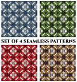 Set of 4 fashionable seamless patterns with decorative ornament of white, red, blue, green, grey and brown shades. Set of 4 abstract fashionable seamless Stock Image