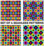 Set of 4 fashionable seamless patterns with different geometric elements. Set of 4 abstract fashionable seamless patterns with different geometric elements vector illustration