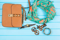 Set of fashionable women`s acsessories. Stock Photo