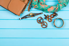 Set of fashionable women`s acsessories. Royalty Free Stock Photo