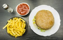 Set of fast food. View from above. Stock Image