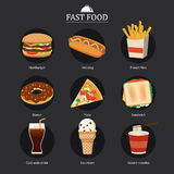 Set of fast food with chalkboard background Royalty Free Stock Photography