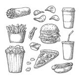 Set fast food. Coffee, hamburger, pizza, hotdog, fry potato, popcorn Stock Image