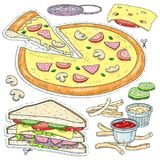 Set fast food, cut pizza, sandwich, cheese, mushrooms and sauces Royalty Free Stock Images