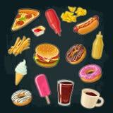 Set fast food. Donut, ice cream, pizza, hamburger, pizza, hotdog Stock Images