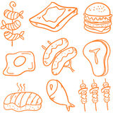 Set of fast food doodles Stock Photos