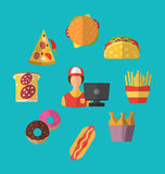 Set Fast Food Flat Icons with Cashier Seller. Illustration Set Fast Food Flat Icons with Cashier Seller - Vector Royalty Free Stock Photo