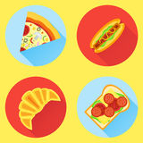 Set of fast food flat icons. Pizza, hot dog, croissant and sandwich. Pizza, hot dog, croissant and sandwich flat icons with long shadow Royalty Free Stock Images