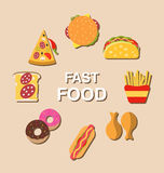 Set Fast Food Flat Icons with Shadows Royalty Free Stock Photos