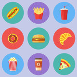 Set of fast food flat round icons. Hot dog, hamburger, pizza, french fries, donut, croissant, popcorn, coffee and soda takeaway. Vector illustration Stock Image