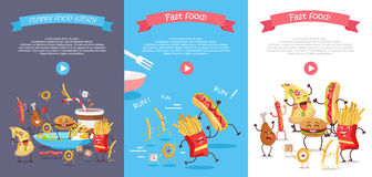 Set of Fast Food Flat Style Vector Web Banners Royalty Free Stock Images