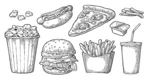 Set fast food. Glass of cola, hamburger, pizza, hotdog, fries potato in paper box, carton bucket full popcorn  Stock Photos