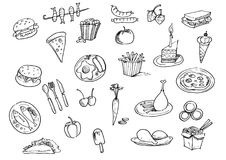 Set with fast food  hand drawn doodle. Royalty Free Stock Image