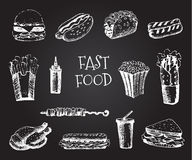 Set with fast food hand drawn illustration. Sketch vector illustration. Fast food restaurant, fast food menu. Hamburger, hot dog, Stock Photography