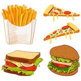 Set of fast food hand drawn VECTOR illustration on blue background. Fries, pizza slices, sandwich, burger. Set of fast food hand drawn VECTOR illustration on Stock Images