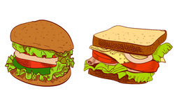 Set of fast food hand drawn VECTOR illustration on blue background. Sandwich, burger. Set of fast food hand drawn VECTOR illustration on blue background Stock Images