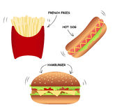 Set of fast food-hot dog, hamburger, fries. Stock Photos