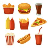 Set fast food icon. Cup cola, chips, burrito, hamburger, pizza fried chicken legs symbol for fast food delivery or takeaway packag Royalty Free Stock Images