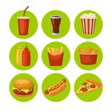 Set fast food icon. Cup cola, chips, burrito, hamburger, pizza fried chicken legs symbol for fast food delivery or takeaway packag Stock Photo