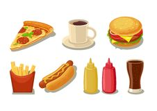 Set fast food icon. Glass of cola, hamburger, pizza, hotdog, cup coffee, fries potato in red paper box, bottles of ketchup and mus Stock Image