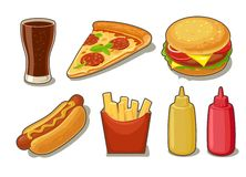 Set fast food icon. Glass of cola, hamburger, pizza, hotdog, fries potato in red paper box, bottles of ketchup  Royalty Free Stock Photos