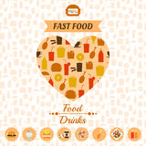 Set of fast food icons, background, labels. For design Stock Images