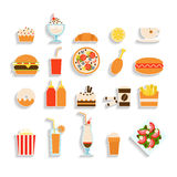 Set of fast food icons Stock Photography