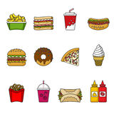 Set of fast food icons. Drinks, snacks and sweets. Colorful outlined icon collection. Stock Image