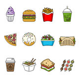 Set of fast food icons. Drinks, snacks and sweets. Colorful outlined icon collection. Vector illustration on white background. Sandwich, hamburger, pita, pizza stock illustration