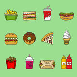 Set of fast food icons. Drinks, snacks and sweets. Colorful outlined icon collection. Vector illustration on white background. Sandwich, hamburger, pita, pizza Royalty Free Stock Photo