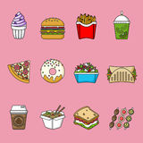 Set of fast food icons. Drinks, snacks and sweets. Colorful outlined icon collection. Vector illustration on white background. Sandwich, hamburger, pita, pizza Stock Photo