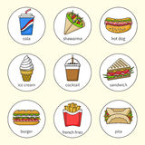 Set of fast food icons. Drinks, snacks and sweets. Set 3. Set of fast food icons. Drinks, snacks and sweets. Colorful outlined icon collection. Sandwich, burger Royalty Free Stock Photography
