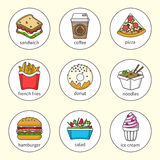 Set of fast food icons. Drinks, snacks and sweets. Set1. Set of fast food icons. Drinks, snacks and sweets. Colorful outlined icon collection.  Sandwich Royalty Free Stock Photos