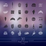 Set of fast food icons. Fast food modern icons for mobile interface on blurred background Stock Images