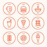 Set of Fast Food Icons. Performed in the last illustration trends. Hot dog, hamburger, tea, hot soup, cola, pizza, rolls, hotdog, donut, icecream symbolic icons Stock Image