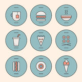 Set of Fast Food Icons Stock Images