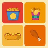 Set of fast food icons. On squares vector illustration graphic design Royalty Free Stock Photos