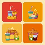 Set of fast food icons. On squares vector illustration graphic design Royalty Free Stock Photography