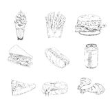 Set of fast food icons Royalty Free Stock Photo