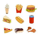 Set of fast food icons. Set of sketch doodles hamburger hot dog fast food pizza icons in color vector illustration royalty free illustration