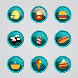 Set of fast food icons Royalty Free Stock Photography