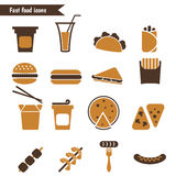 Set of fast food icons. Stock Images
